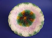 Stunning Majolica Overlapping Maple Leaf Plate c1880 #2